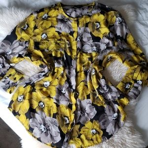 Who what wear yellow floral button down blouse